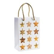 1336152 Пакет подарочный белый-звезды